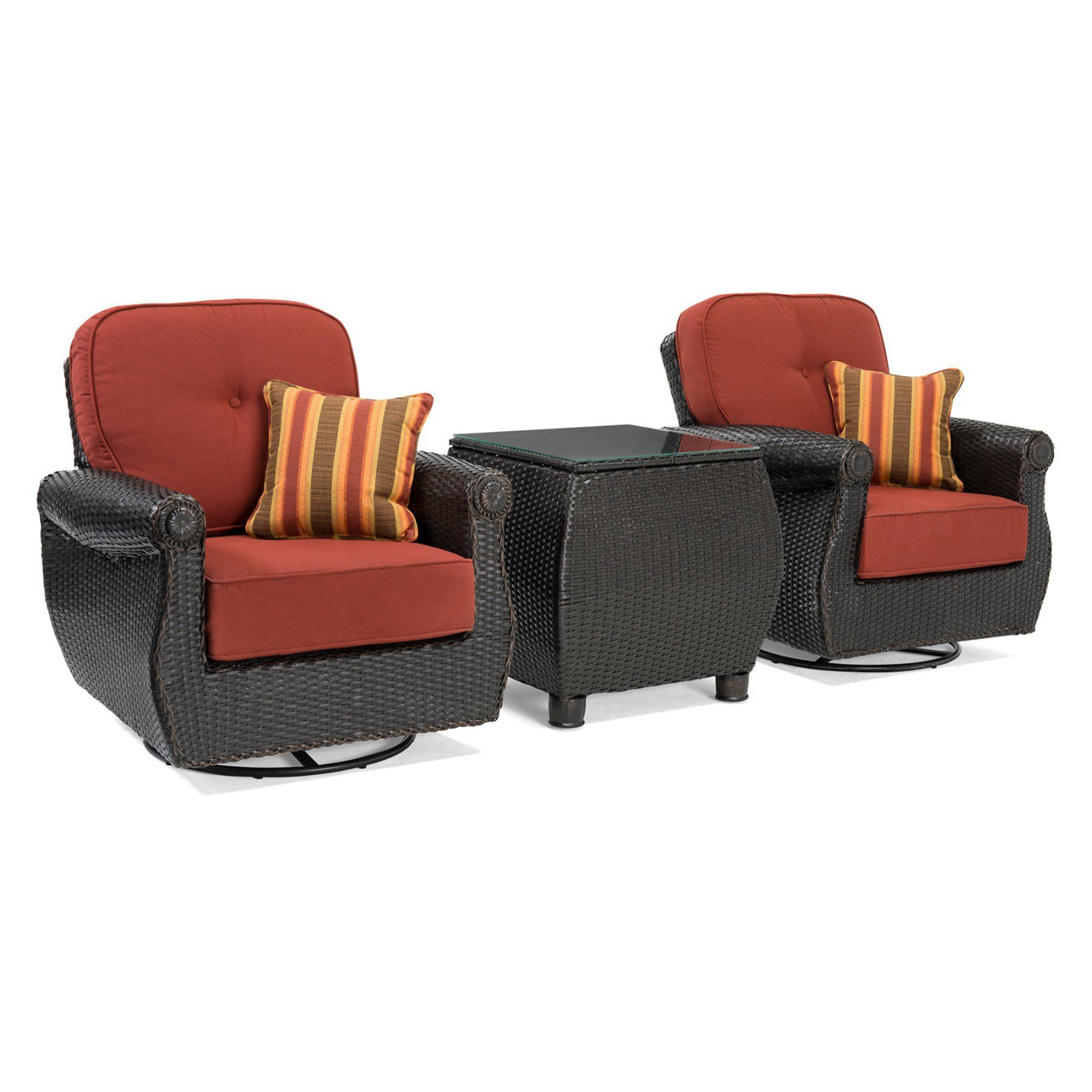 Outdoor La Z Boy Breckenridge Wicker 3 Piece Patio Swivel Rocker Convers Wicker Patio Furniture Set Resin Wicker Patio Furniture