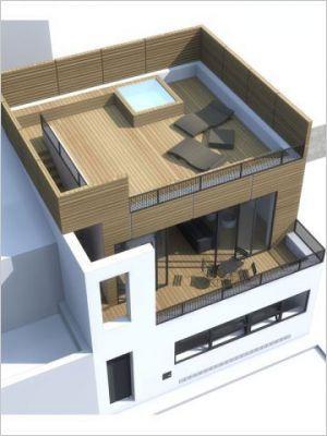 Deux terrasses Maison de ville, Style industriel et Industriel - faire un plan de maison facilement