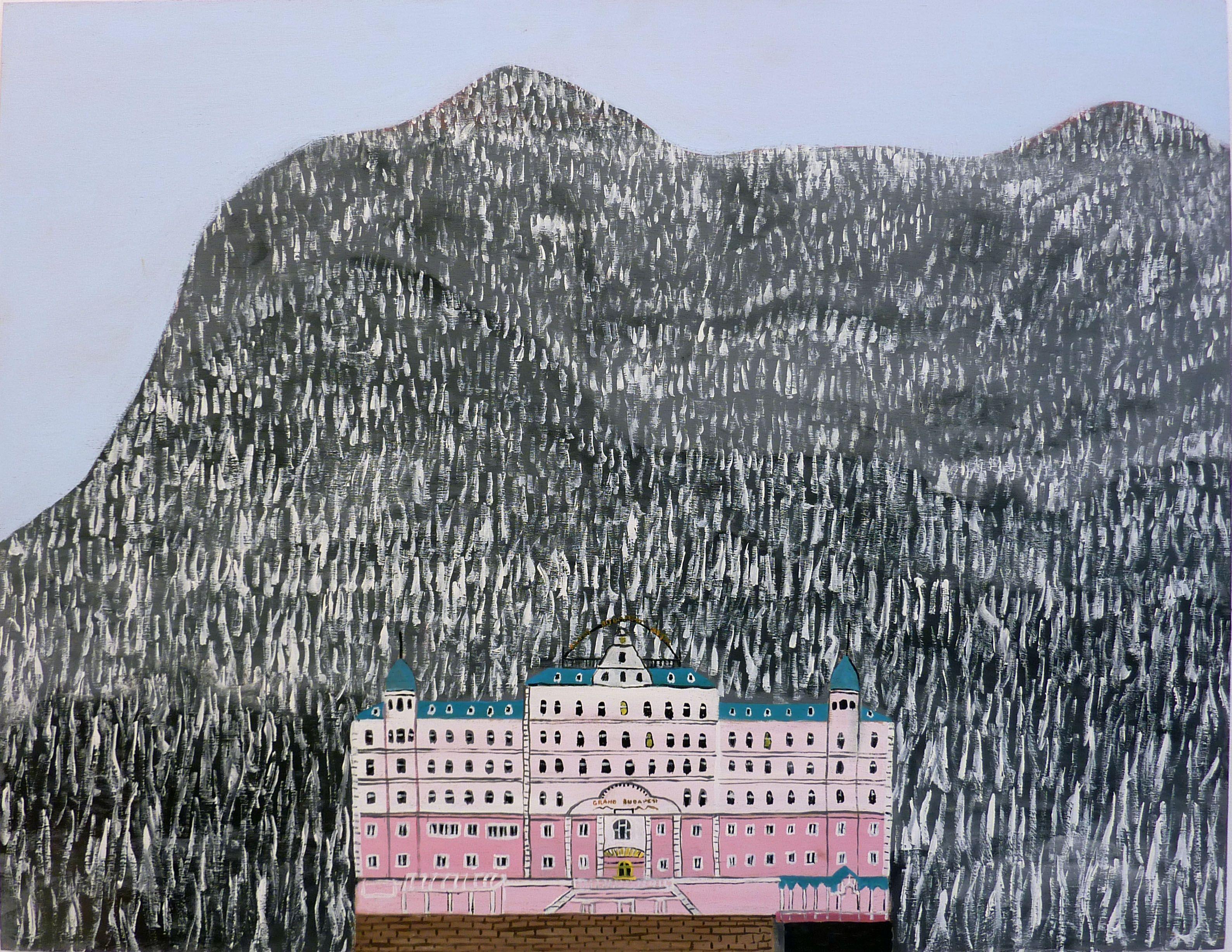 Marc Etherington Grand Budapest Hotel 2014 acrylic on marine plywood 61 x 80 cm  from the Gallery 9 stockroom