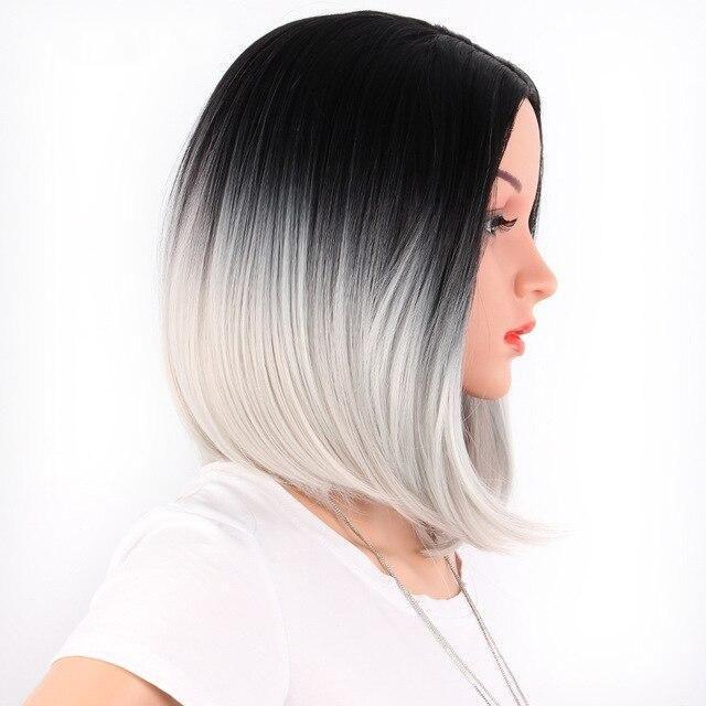 Bob Wig Women Short Straight Hair With Bangs - 1b-