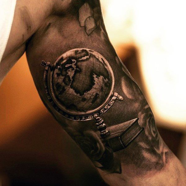 50 world map tattoo designs for men adventure the globe realistic world map globe tattoof for men on bicep gumiabroncs Image collections