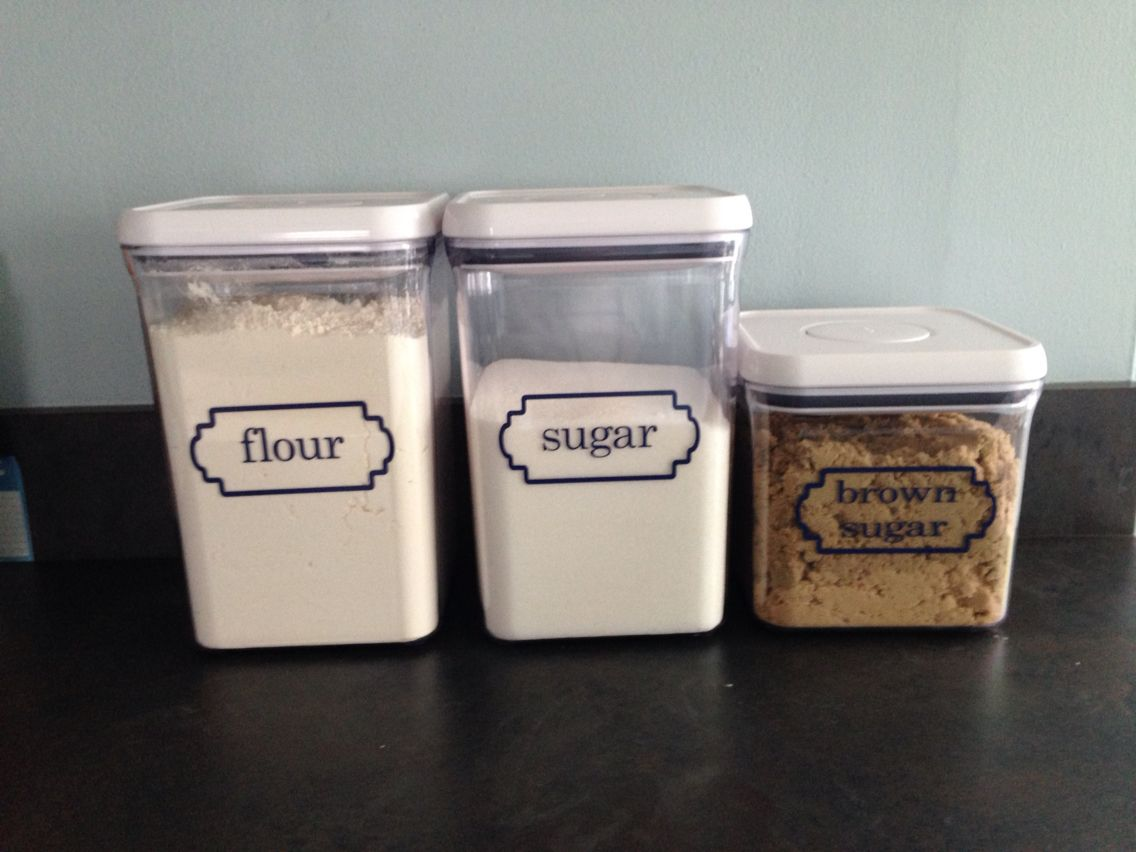 Flour, sugar and brown sugar storage containers designed by: http://artworksbyamy.com