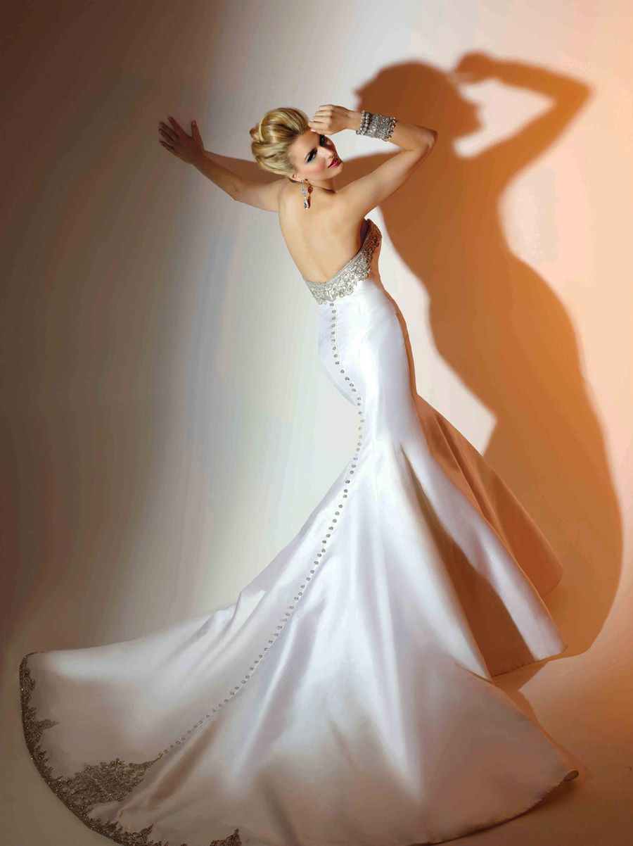 Satin fit to flare gown with jeweled bodice and hipline wedding