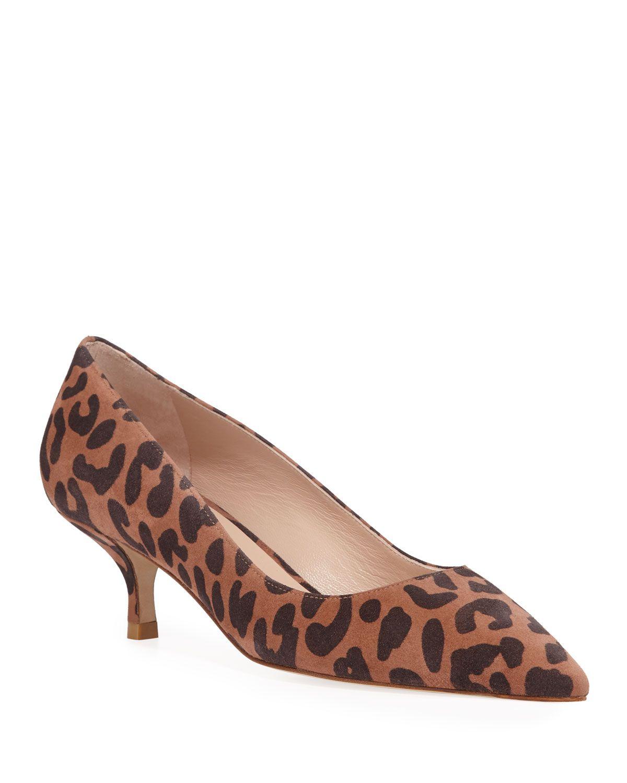 Stuart Weitzman Cindy Leopard Print Kitten Heel Pumps In 2020 Kitten Heels Kitten Heel Pumps Heels