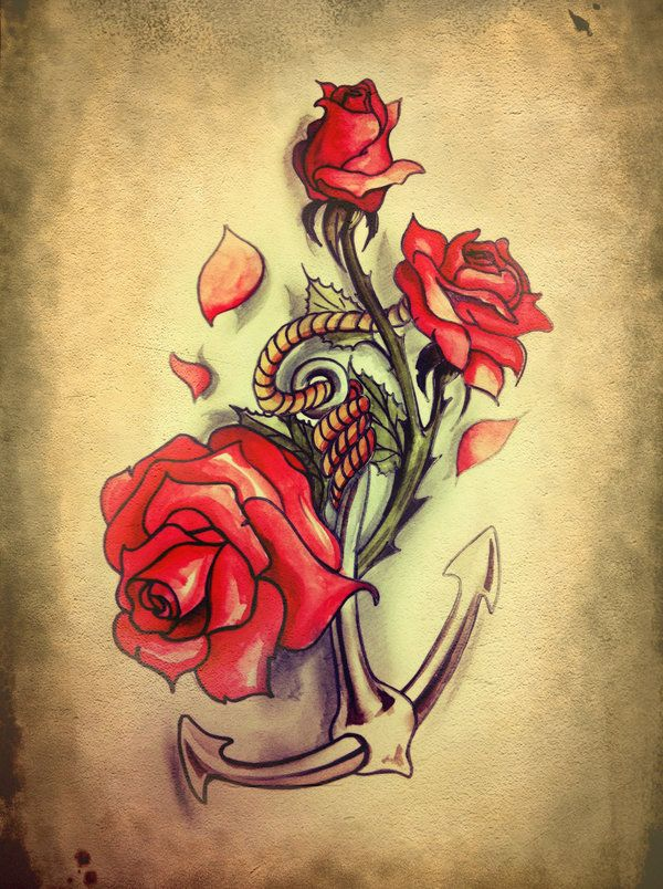 Anchor roses tattoo google search tattoo ideas for Anchor rose tattoo