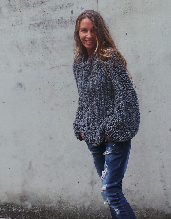Gray sweater, Womens gray chunky oversized sweater chunky slouchy ...