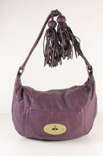 c4db35009612 Mulberry Purple Leather Front Flap Pocket Braided Tassel Strap Shoulder  Handbag
