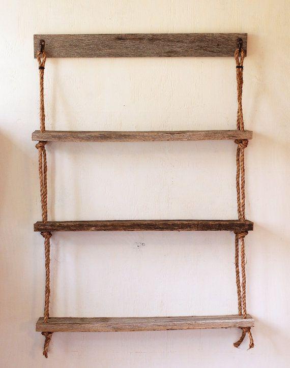 Hanging Rope Shelves 3 Shelf Barn Wood Suspended Shelving Rope Shelves Hanging Wood Shelves Hanging Rope Shelves