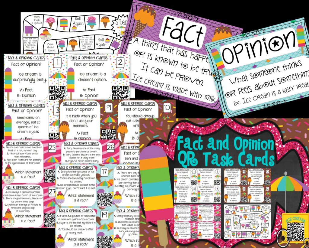 Fact And Opinion Task Cards Amp Game With Qr Codes
