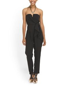 image of Juniors Strapless Side Tie Jumpsuit