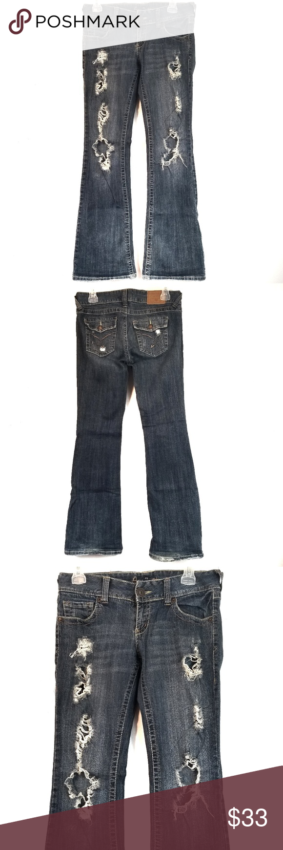 9e7c81d25f87e I just added this listing on Poshmark  Amethyst Distressed Flare Jeans Dark  Wash Size 5.  shopmycloset  poshmark  fashion  shopping  style  forsale ...