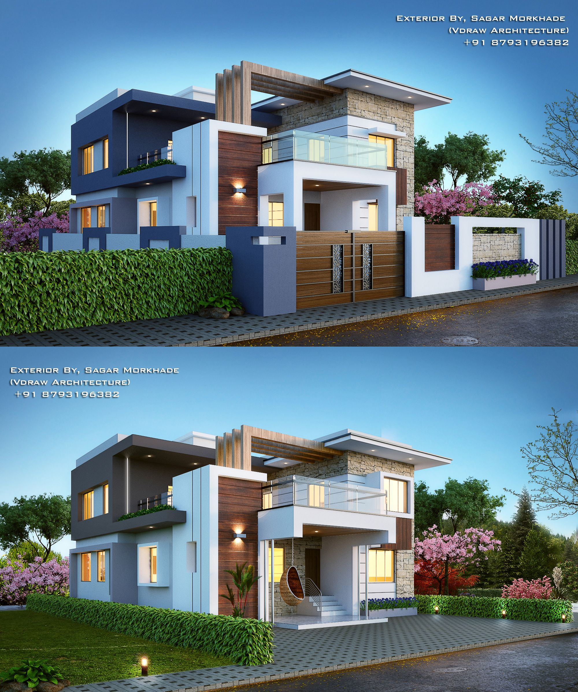 Modern house bungalow exterior by sagar morkhade vdraw architecture also awesome contemporary style sq ft home in elevation rh pinterest