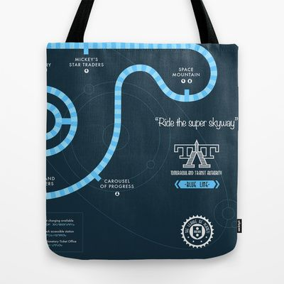 Tomorrowland Transit Authority Map Tote Bag by Rob Yeo - $22.00