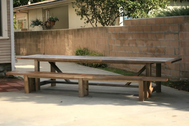 Reclaimed Wood Furniture 12 Foot Outdoor Trestle Table Bench Farmhouse Picnic Table Outdoor Farmhouse Table Trestle Table