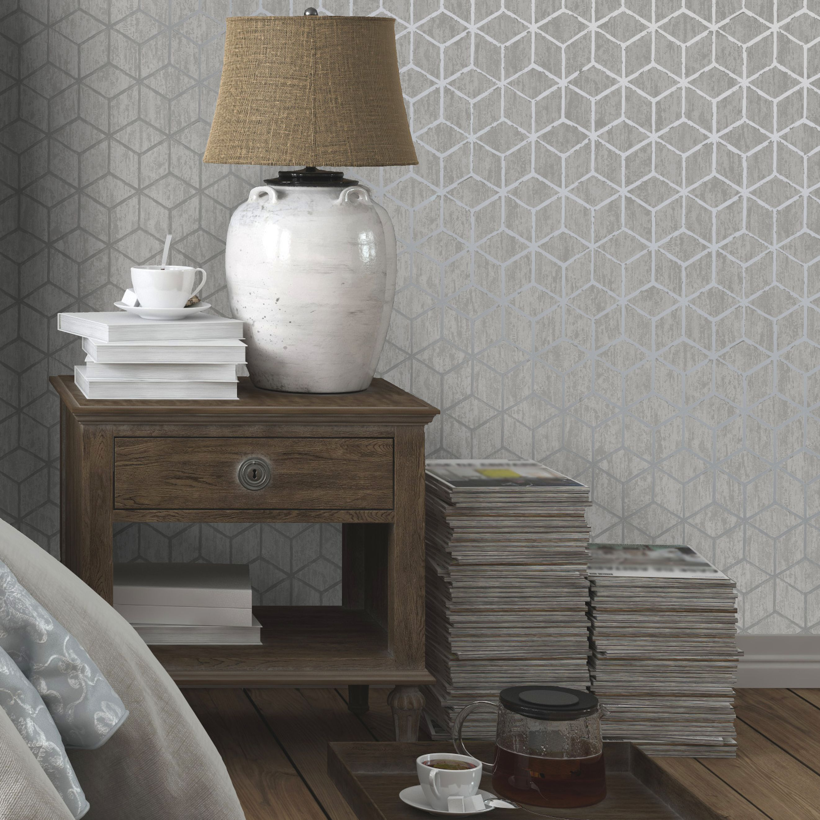 Silver Bedroom Wallpaper Innocence Charcoal Silver Wallpaper By Graham And Brown