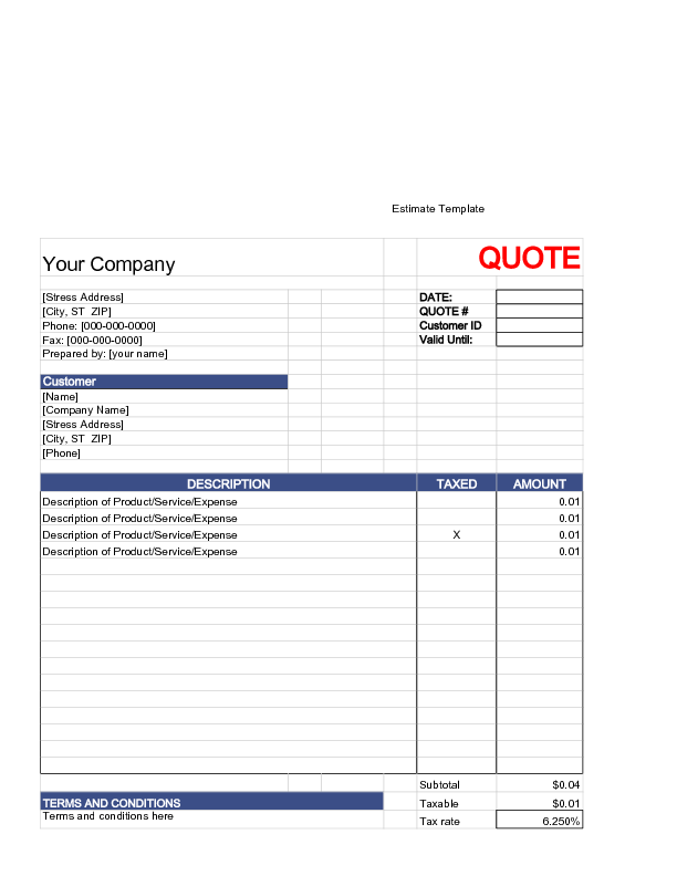 Estimate Template And Sample
