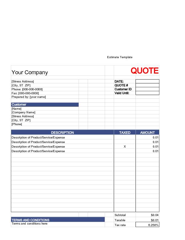 Write an Estimate  flooring jobs  Estimate template