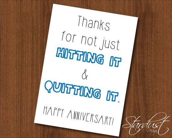 Hit it \ Quit it Anniversary Printable Card by StardustDesignShop - anniversary printable cards