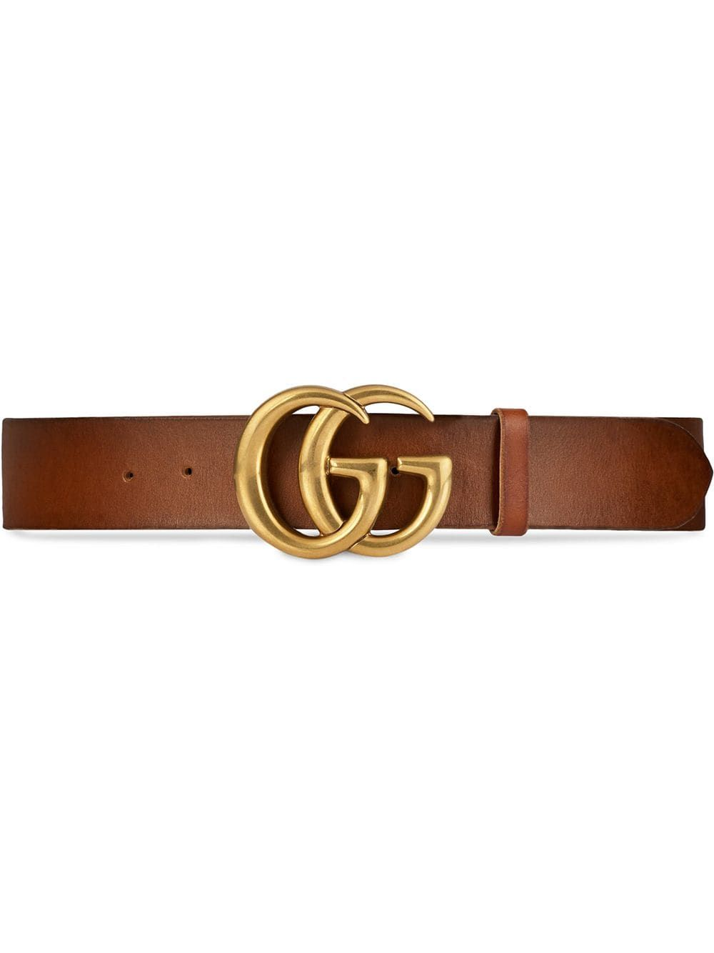 b03af71fc GUCCI GUCCI LEATHER BELT WITH DOUBLE G BUCKLE - BROWN. #gucci ...