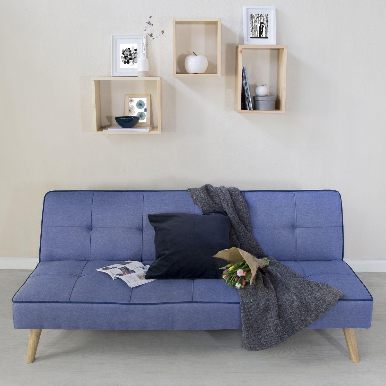 Schlafsofa Schlafcouch Couch Gastebett Schlaffunktion Blau
