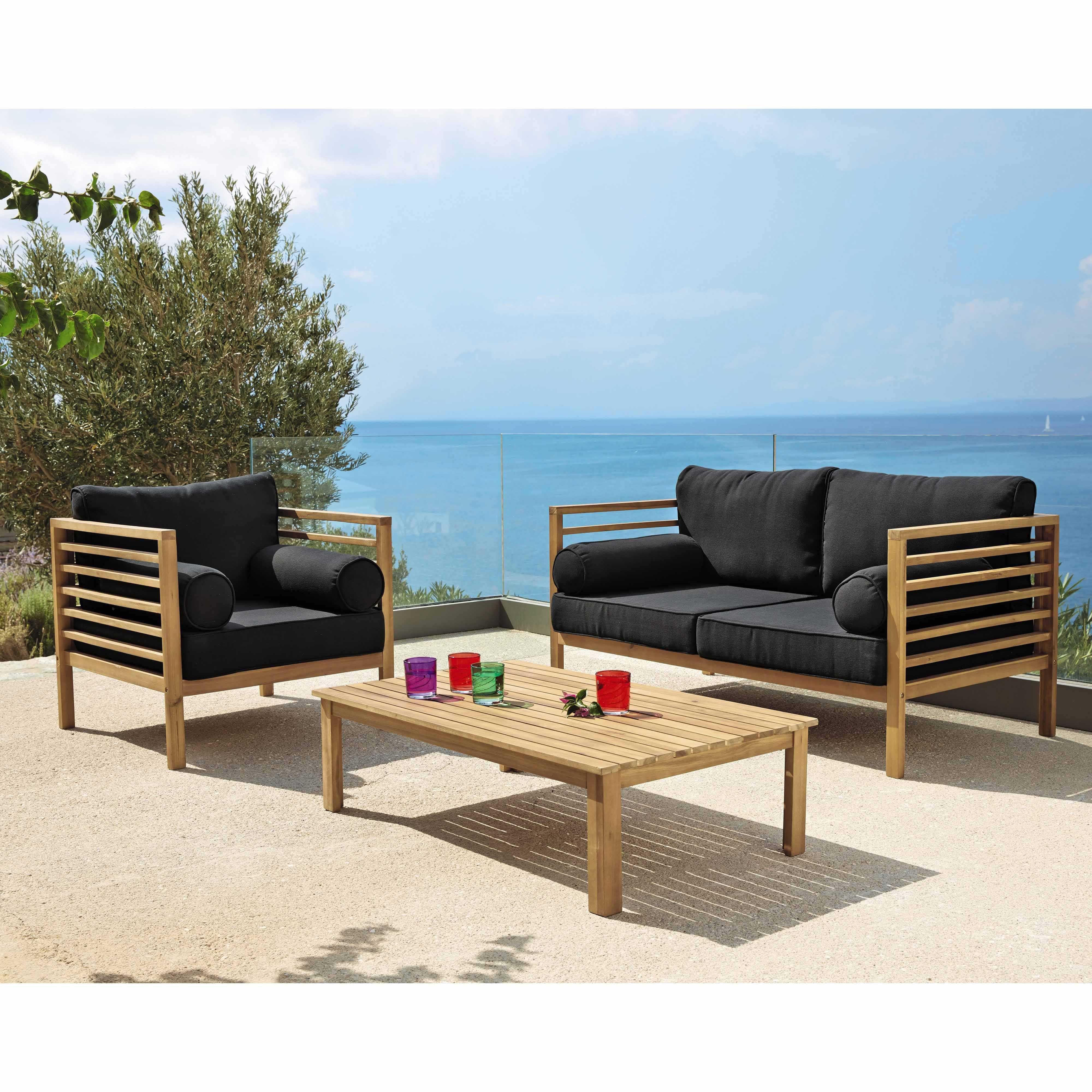 fauteuil de jardin en acacia finition teck et coussins noirs iliade maisons du monde garden. Black Bedroom Furniture Sets. Home Design Ideas