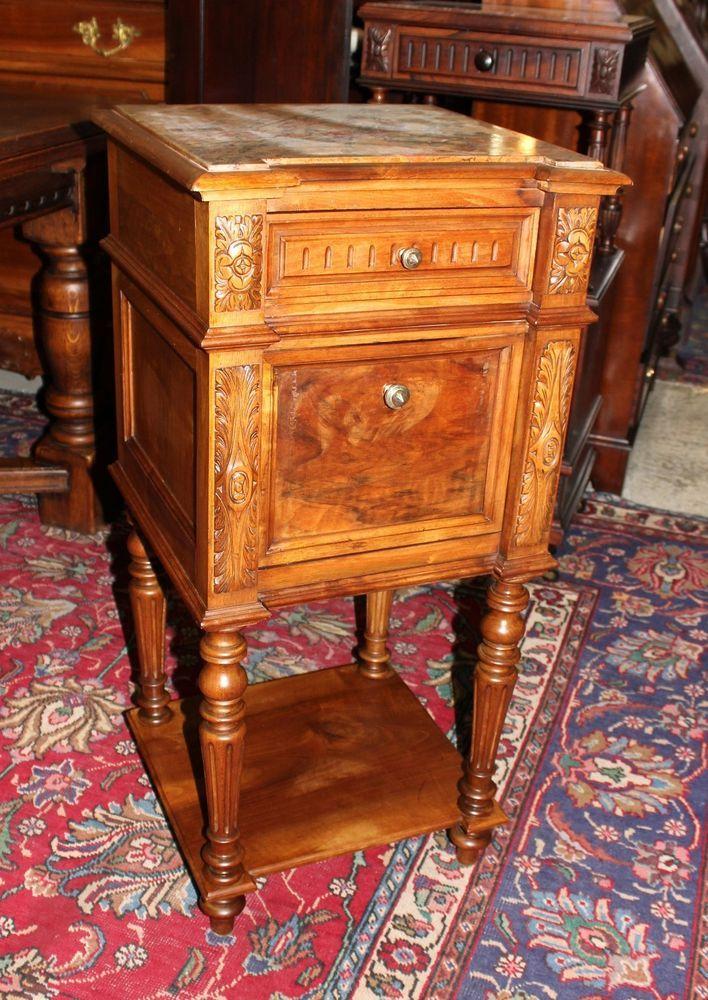 Beautiful Antique French Walnut Louis XVI Marble Top Nightstand     LouisXIIIXIVXVXVI. Beautiful Antique French Walnut Louis XVI Marble Top Nightstand