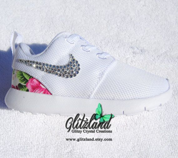 new concept e9558 1f590 norway blinged white infant toddler nike roshe run shoes w pink flower  print heel made with