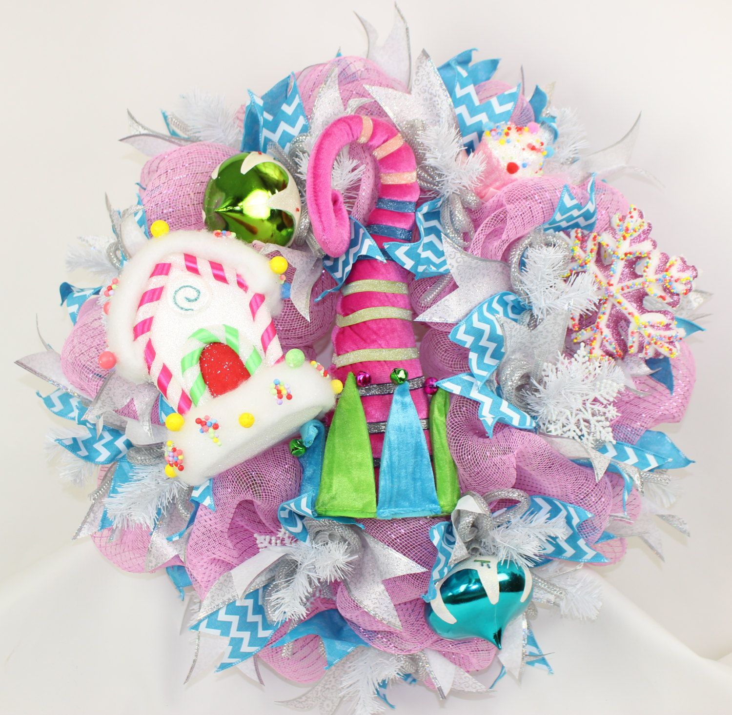 Sugar Plum Fairy Elf  Hat Christmas Deco Mesh Door Wreath by Crazyboutdeco on Etsy