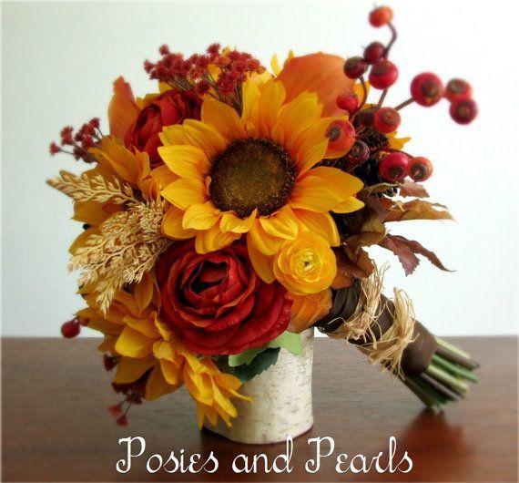 Fall Silk Flower Bridal Bouquet, Sunflowers, Ranunculus, Calla Lilies, Berries, Pine Cones, L...