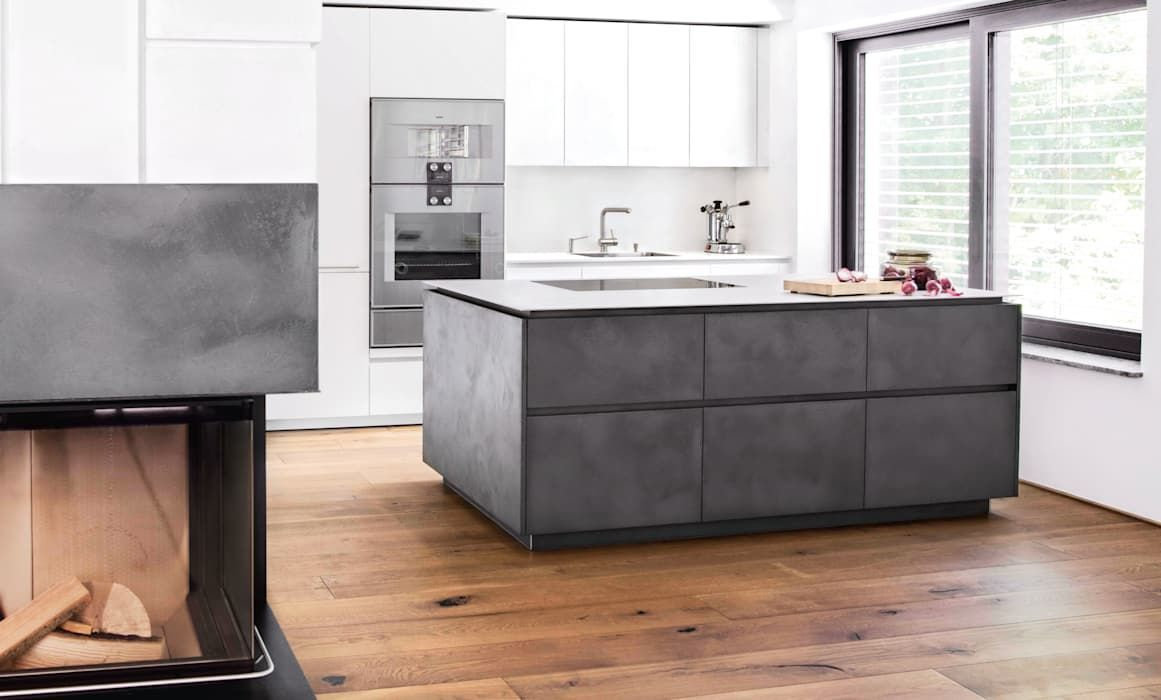 Eggersmann E Sign Concrete Tokio With Stainless Steel And Fine Textured Paint From Lang Kuchen Accessories Gmbh Co Kg Modern Mdf Concrete Kitchen Kitchen Cabinet Remodel Black Cabinets