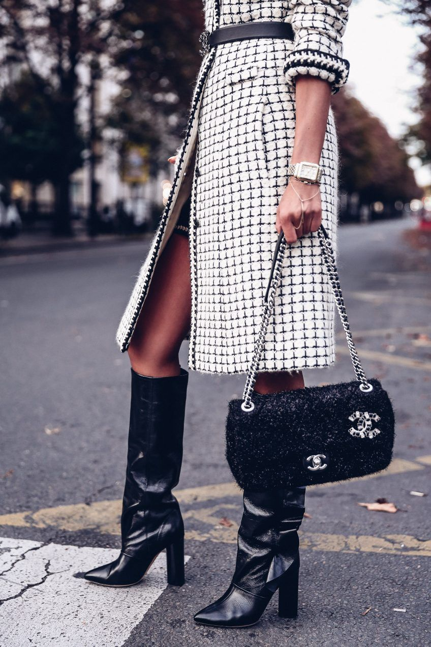 9ecc3931157 Fell in love with this Chanel tweed black flap bag the moment I saw it!  It's so classic and timeless, I had to have it. Wearing it here with Chanel  black ...
