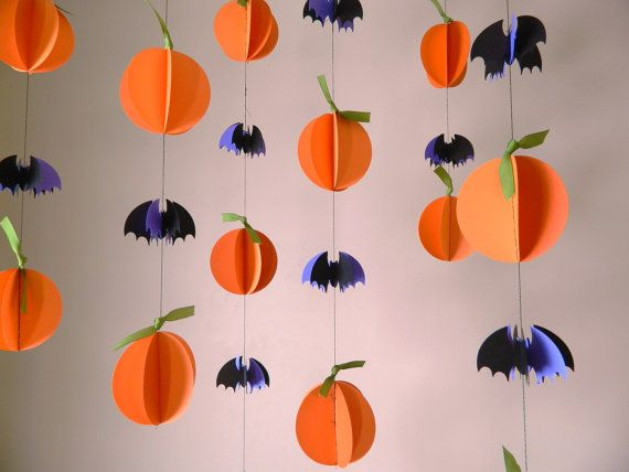 Halloween Garland Paper Decorations Pumpkins And Bats Fall Decor Photo Prop Window