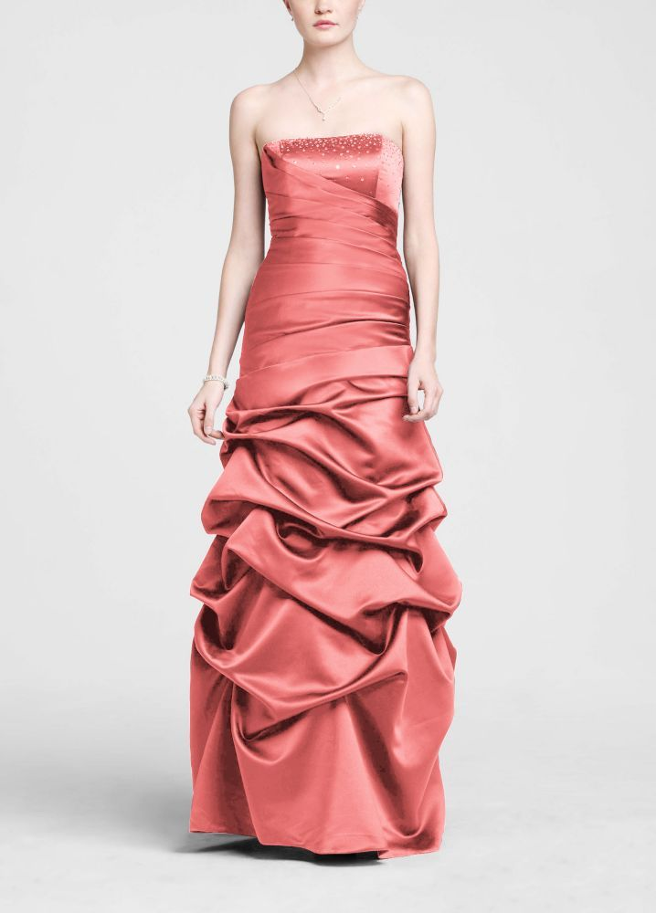 Strapless Satin Pick Up Ball Gown Bridesmaid Dress with Beaded Bust ...