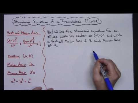 Writing The Standard Form Of A Translated Ellipse Part 3 Of 4