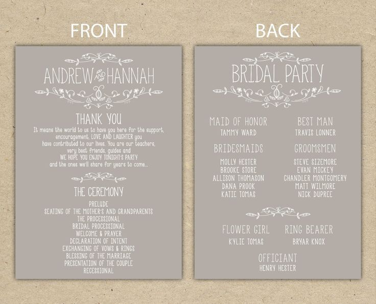 Image Result For Wedding Reception Program Templates  Wedding