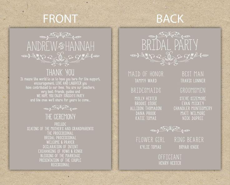 Image Result For Wedding Reception Program Templates  Wedding