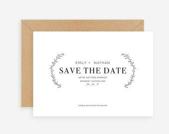 Enregistrer la Date carte, papier Kraft, calendrier imprimable, Simple faire-part, rustiques, sur mesure des couleurs, blanc neutre classe