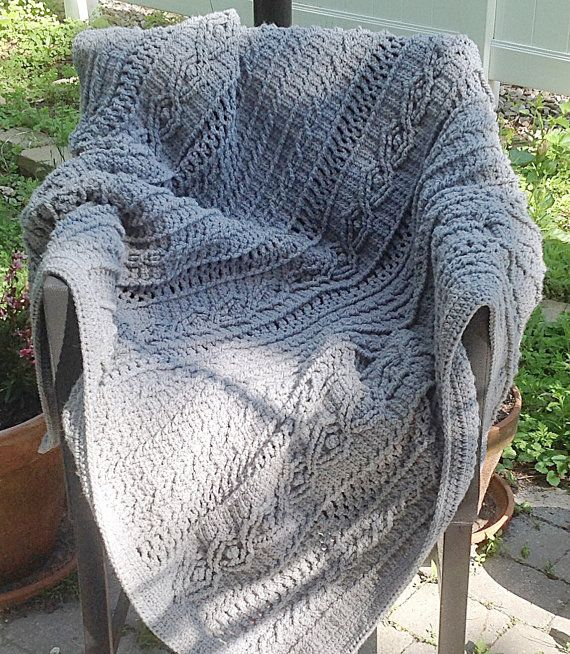 Heather Gray Acrylic Yarn Crochet Cable \