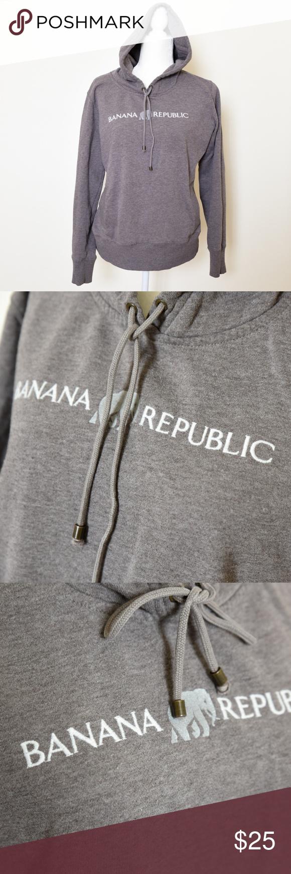 BANANA REPUBLIC Brown/Gray Hoodie Sweater w/Logo Grey