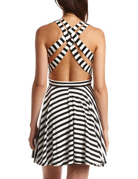 We <3 this Striped Crisscross-Back Skater Dress for a sexy/casual look.
