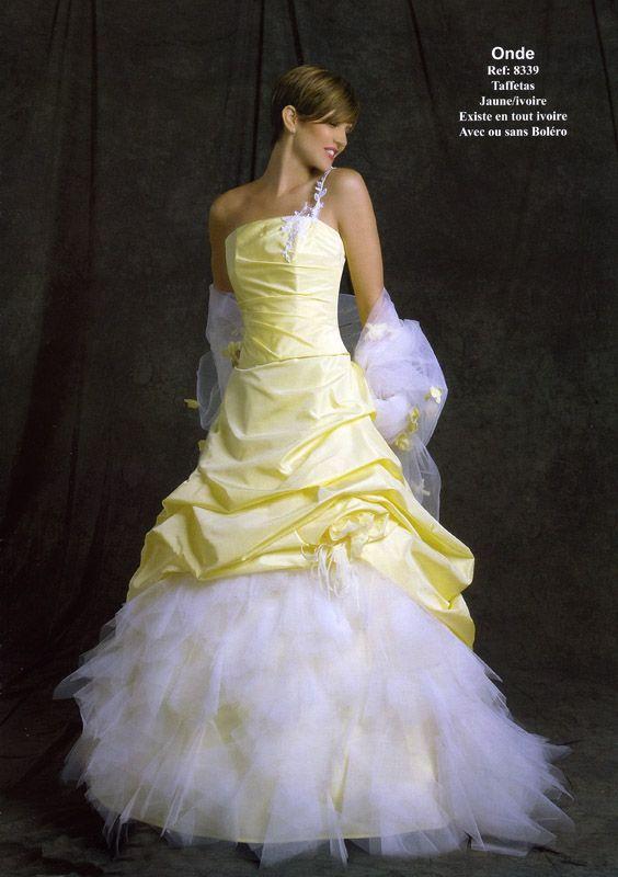 fd915350759 jaune et blanche 2 Robe De Mariée Couleur