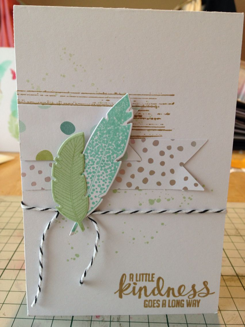 Card made using four feathers stamp and framelits and all is calm papers from Stampin up