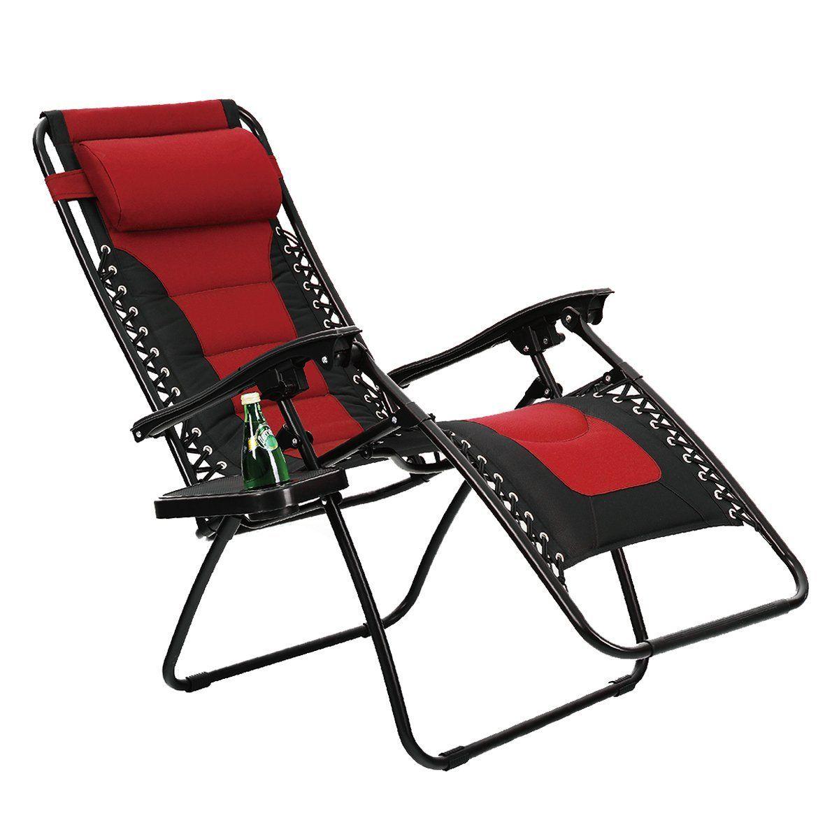 Phi Villa Padded Zero Gravity Chair Patio Lounge Chairs Red