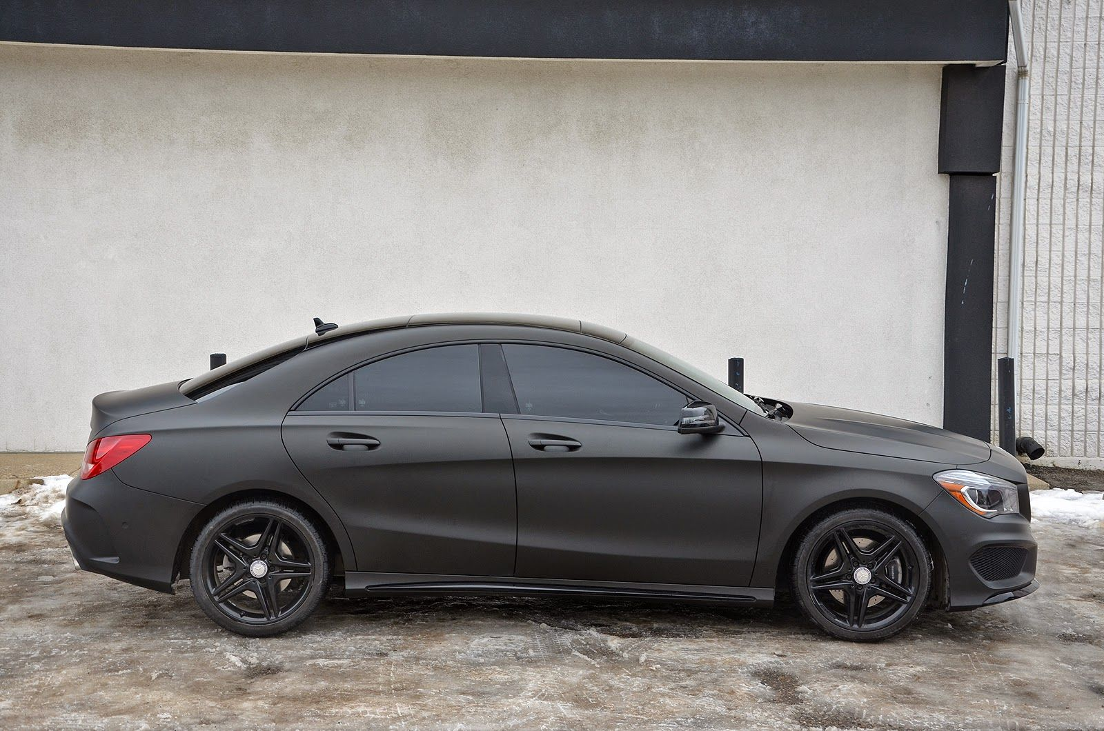 Black On Black Matte Black Wrap On A Mercedes Benz Cla250 With