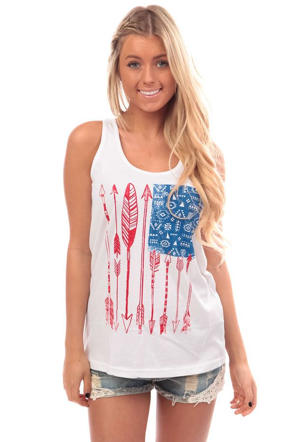Lime Lush Boutique - Red White and Blue Arrow Print Tank, $26.99 (http://www.limelush.com/red-white-and-blue-arrow-print-tank/)