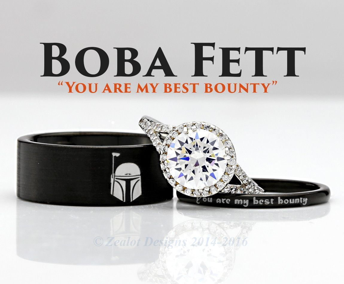 Star Wars Boba Fett His And Her S 3piece Silver Custom Engagement Set Tungsten Wedding Band Ring M Star Wars Ring Star Wars Wedding Band Tungsten Wedding Bands