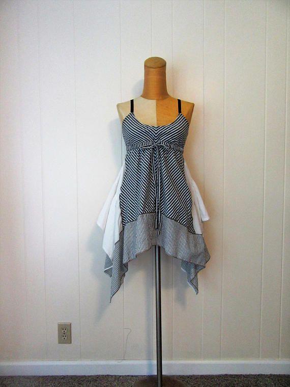 744479083d50 Boho Tunic Dress French Shabby Chic Cotton Stripe Seersucker Flowing Gray &  White Size XS - S