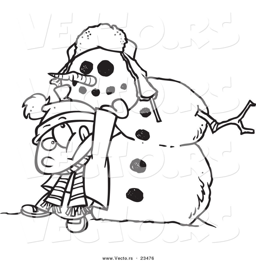 cartoon vector of cartoon boy putting a head - Abominable Snowman Coloring Pages