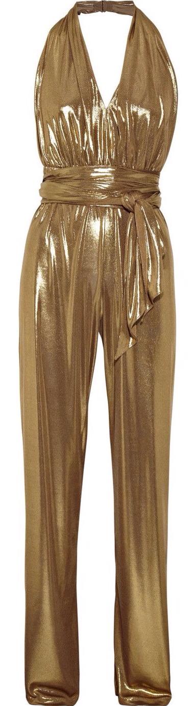 5f23d35e1f96 Halston Heritage Halterneck Gold Lame Jumpsuit