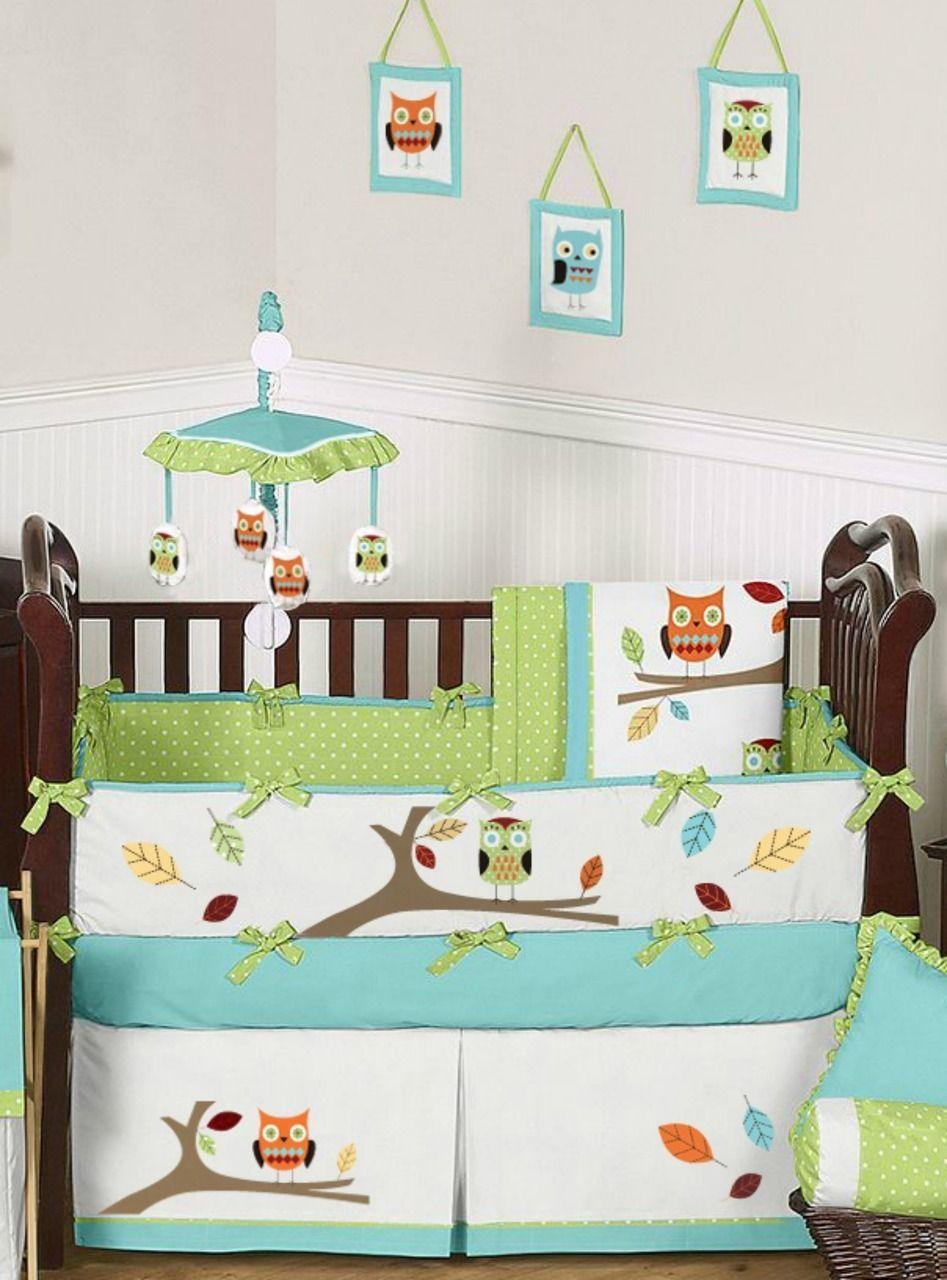 Orange owl crib bedding - Hooty Turquoise Lime Owl Crib Bedding 9 Piece Crib Set